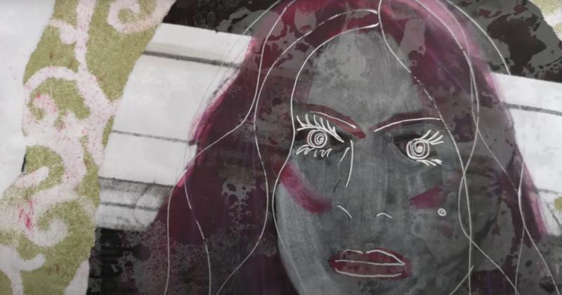 Video-still des Videos. Zu sehen ist ein gezeichnetes Gesicht und Collagen.