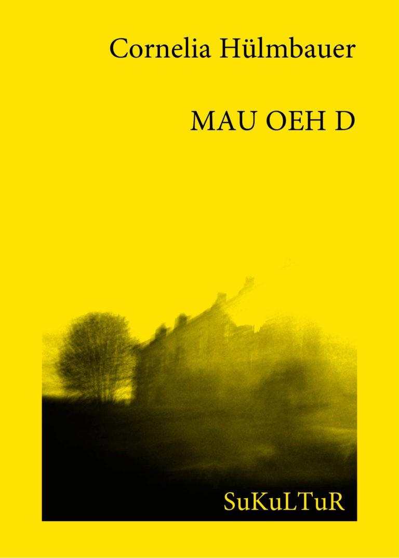 Buchcover mit einer verwischten schwarzweiß Landschaftsfotografie auf gelben Hintergrund.