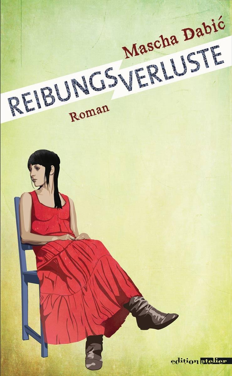 Eine Frau in rotem Kleid sitzt auf einem Stuhl und sieht zur Seite.